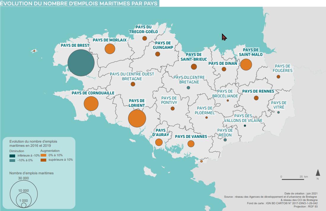 Evolution du nombre d'emplois maritimes par Pays